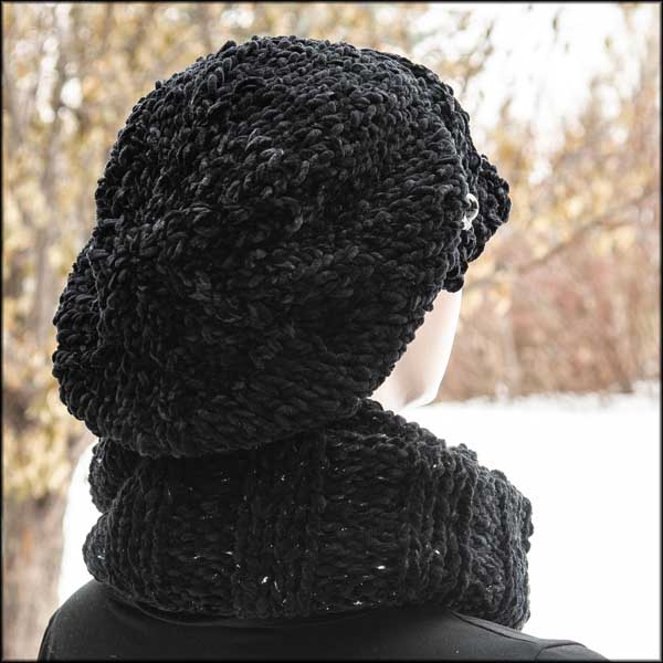 Black Chenille Poor Boy and Infinity Scarf